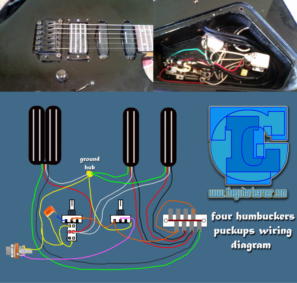 Dual Humbucker Pickup Wiring Diagram Content Resource Of Carvin Four Humbuckers Hotrails And Quadrail Rh Theguitarlearner Com 2 Volume 1 T One Seymour Duncan Diagrams